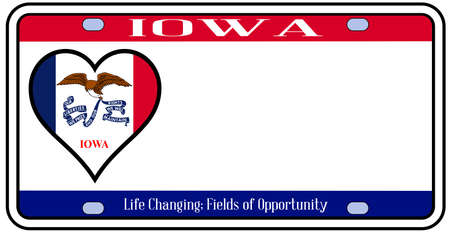 license plate: Iowa state license plate in the colors of the state flag with the flag icons over a white background