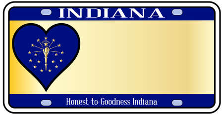 license plate: Indiana state license plate in the colors of the state flag with the flag icons over a white background