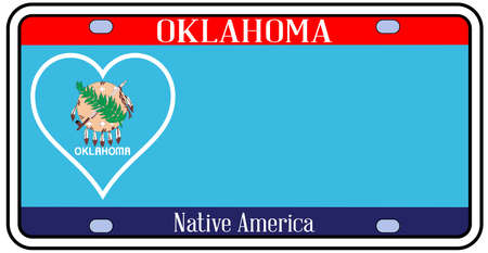 license plate: Oklahoma state license plate in the colors of the state flag with the flag icons over a white background