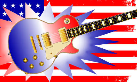 civil: The Stars and Stripes flag as used by the Union forces during the Amrican civil war with flash and electric guitar Illustration