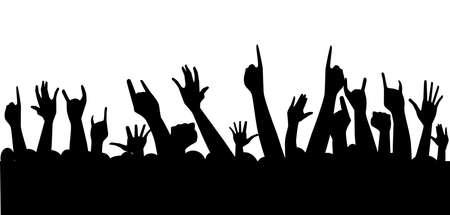 Siluetas de la mano planteadas en el aire en un concierto