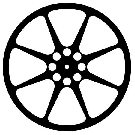 home video: Cinema movie film reel silhouette isolated over a white background Illustration