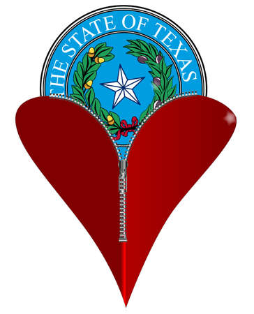 unzipped: A red heart with a zipper showing Texas State Seal rising from within