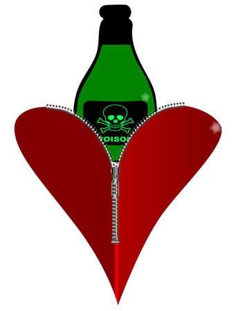 veneno frasco: Un coraz�n rojo con una cremallera que muestra una botella de veneno se elevar� desde dentro Vectores