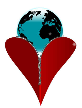 unzipped: A red heart with a zipper showing the Earth rising from within