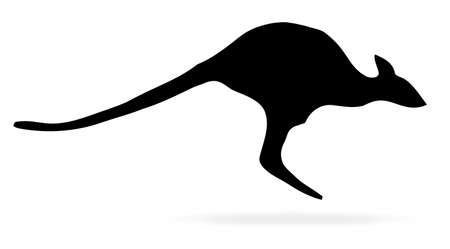 A jumping kangaroo in silhouette over a white background Illustration