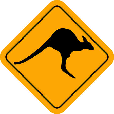 hoping: A jumping kangaroo silhouette within a kangaroo crossing sign over a white background