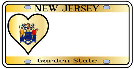 license plate: New Jersey state license plate in the colors of the state flag with the flag icons over a white background