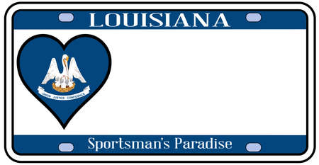 license plate: Louisiana state license plate in the colors of the state flag with the flag icons over a white background