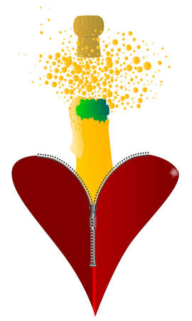unzipped: A red heart with a zipper showing a bottle of champagne rising from within
