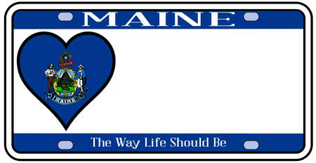 license plate: Maine state license plate in the colors of the state flag with the flag icons over a white background Illustration