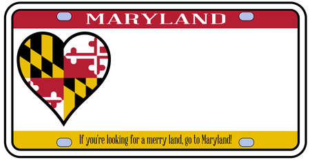 Maryland state license plate in the colors of the state flag with the flag icons over a white background Illustration