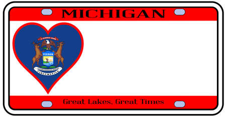 license plate: Michigan state license plate in the colors of the state flag with the flag icons over a white background Illustration