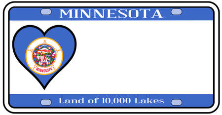 Minnesota state license plate in the colors of the state flag with the flag icons over a white background Illustration