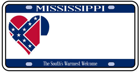 license: Mississippi state license plate in the colors of the state flag with the flag icons over a white background Illustration