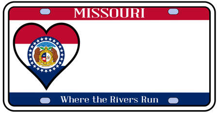 license plate: Missouri state license plate in the colors of the state flag with the flag icons over a white background