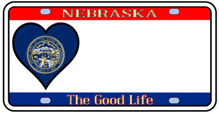 license plate: Nebraska state license plate in the colors of the state flag with the flag icons over a white background