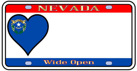license: Nevada state license plate in the colors of the state flag with the flag icons over a white background