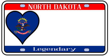 license plate: North Dakota  license plate in the colors of the state flag with the flag icons over a white background