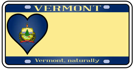 license plate: Vermont license plate in the colors of the state flag with the flag icons over a white background