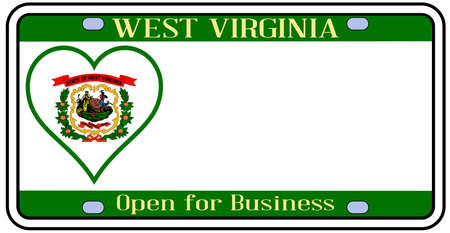 license plate: West Virginia license plate in the colors of the state flag with the flag icons over a white background Illustration