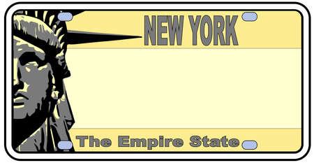 New York nummerplaat in de kleuren van de vlaggenstaat met de vlag iconen op een witte achtergrond