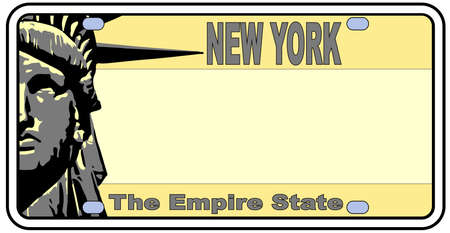 New York license plate in the colors of the state flag with the flag icons over a white background