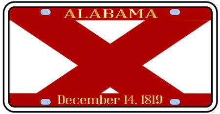 license: Alabama state license plate in the colors of the state flag with the flag icons over a white background