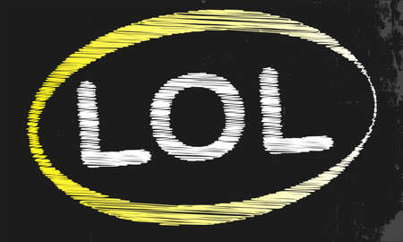 laugh out loud: A blackboard with a chalk word LOL Illustration