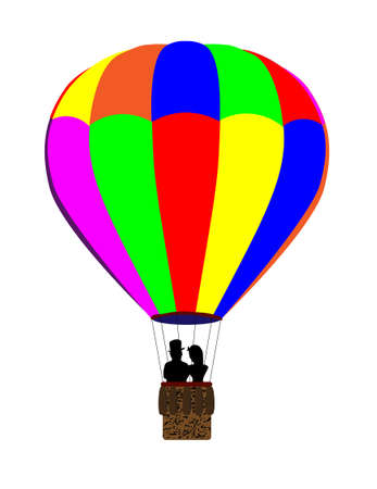 hot couple: A typical multi coloured hot air balloon floating away with a couple in silhouette in the basket, all over a white background. Illustration