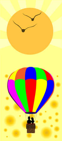 hot couple: A typical multi coloured hot air balloon floating away with a couple in silhouette in the basket, all over a aummer style background. Illustration