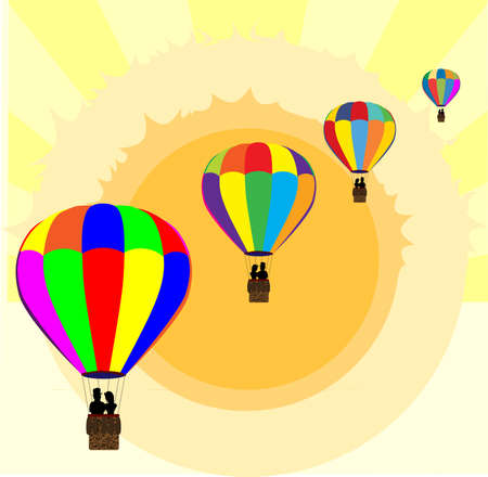 multi coloured: Typical multi coloured hot air balloons  floating away through a summer sky background