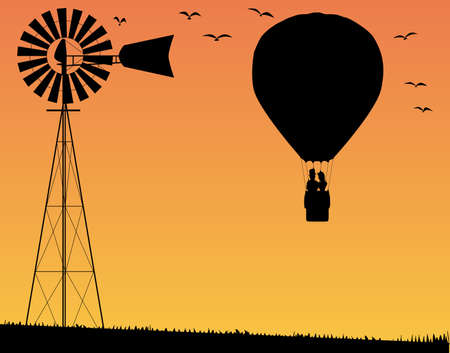 hot couple: A silhouette of a hot air balloon floating away with a couple in the basket over a farm background with birds and windmill Illustration
