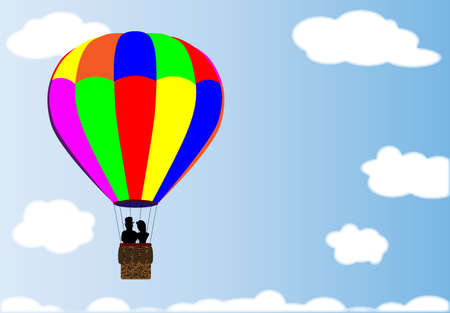 hot couple: A hot air balloon floating amongst the clouds with a couple in the basket Illustration