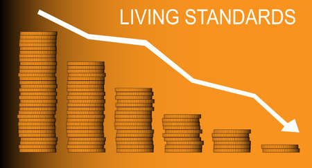 standards: A stack of coins and an arrow pointing down with the legend living standards in white. Illustration