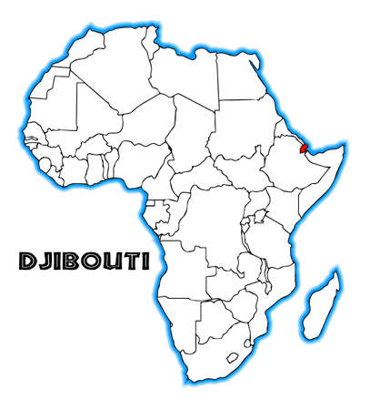 inset: Djibouti outline inset into a map of Africa over a white background Illustration