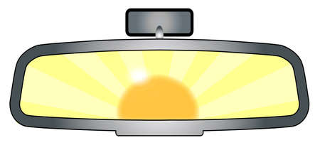rear view mirror: Depiction of a vehicle rear view mirror with the sun glare