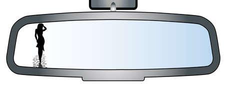 prostitue: Afbeelding van een achterwagen spiegel toont een silhouet van een vrouw aan de kant van de weg
