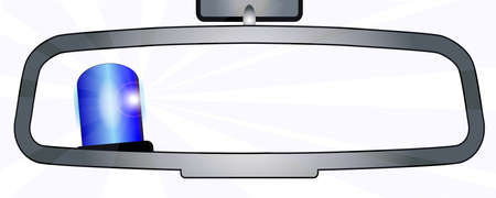 rear view mirror: A vehicle rear view mirror showing a police vehicle flashing blue light Illustration