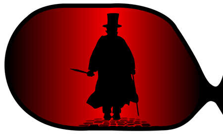 A typical wing mirror with reflections of an approaching Jack the Ripper from the shadows