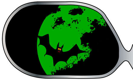 swooping: A typical wing mirror with reflections of a vampire bat and green moon Illustration