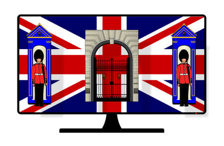 A TV or computer screen with a Union Jack flag and Buckingham Palace guards on duty over a white background Illustration