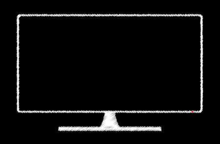 tv scherm: Getekend op een schoolbord Een televisie of computerscherm Stock Illustratie