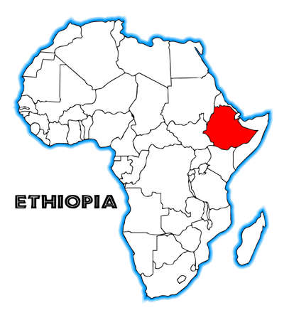 africa outline: Ethiopia outline inset into a map of Africa over a white background