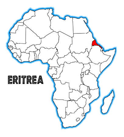 africa outline: Eritrea outline inset into a map of Africa over a white background