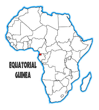 inset: Equatorial Guinea outline inset into a map of Africa over a white background Illustration