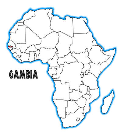 africa outline: Gambia outline inset into a map of Africa over a white background