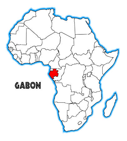 inset: Gabon outline inset into a map of Africa over a white background Illustration