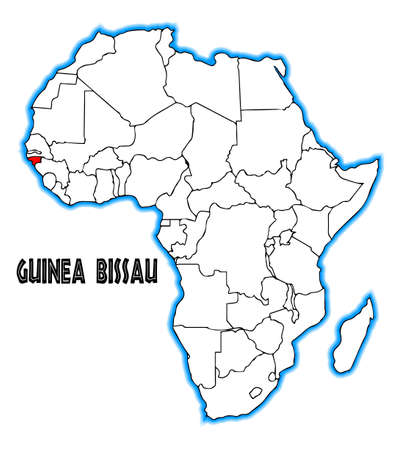 bissau: Guinea Bissau outline inset into a map of Africa over a white background