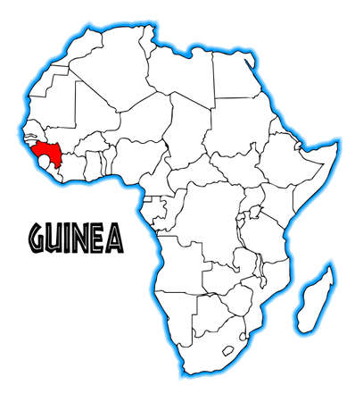 inset: Guinea outline inset into a map of Africa over a white background